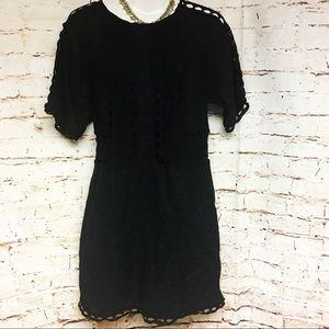 ANN TAYLOR BLACK 100% LINEN & CROCHET TRIM DRESS-M